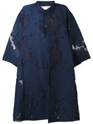 Mantu Embroidered Coat Women Silk Cotton Acrylic Other Fibres 42 Blue