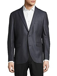 Saks Fifth Avenue Silk And Cotton Notch Lapel Check Sportcoat Grey Check