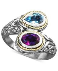 Effy Collection Balissima By Effy Blue Topaz 3 4 Ct. T.W. And Amethyst 3 4 Ct. T.W. Bypass Ring In Sterling Silver And 18K Gold Multi