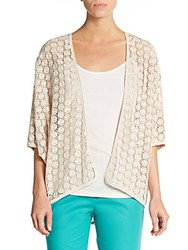 Lafayette 148 New York Lace Detail Open Cardigan Raffia