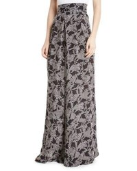 Johanna Ortiz Tonga High Waist Zebra Print Wide Leg Silk Palazzo Pants Black White