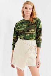 Urban Outfitters Uo Frayed Wrap Mini Skirt Beige