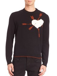 Salvatore Ferragamo Wool And Shearling Fur Heart Sweater Nero Rust