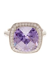 Suzy Levian Jewelry Sterling Silver Purple And White Cz Halo Ring