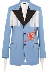 Gucci Fringed Embellished Stretch Twill Jacket Blue