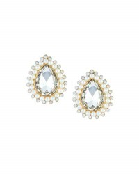 Emily And Ashley Pearlescent Crystal Teardrop Statement Button Earrings Gold Pearl