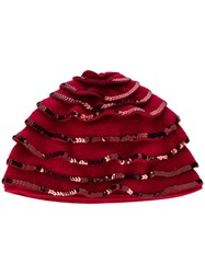 Le Chapeau Sequin Embellished Berret Red