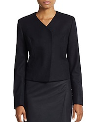 Pauw Wool Asymmetrical Wrap Jacket Navy