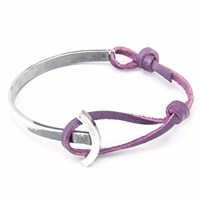 Anchor And Crew Grape Purple Galleon Leather Silver Half Bangle Pink Purple