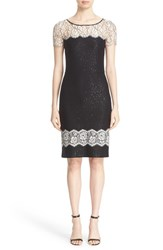 St. John Women's Collection Lace Trim Sequin Satin Knit Sheath Dress