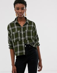 Only Oversized Check Shirt Green
