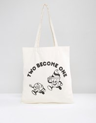 Asos Tote Bag With Two Become One Print Cream
