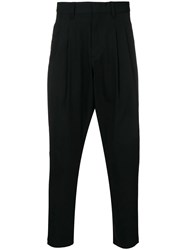 Attachment Pleated Tapered Trousers Black
