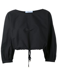 Blumarine Cropped Balloon Sleeve Top Women Cotton Polyamide Spandex Elastane 42 Black