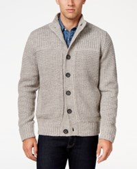 Weatherproof Vintage Men's Big And Tall Shawl Collar Waffle Knit Cardigan Only At Macy's Medium Grey