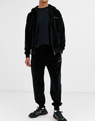 Lacoste L Ve Velour Joggers In Charcoal Black