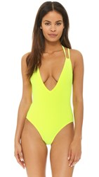 Solid And Striped The Alexandra One Piece Neon Yellow