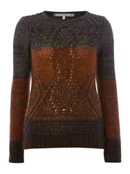 La Fee Maraboutee Long Sleeved Jumper Round Neck Grey