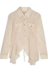 Marques' Almeida Open Back Ruffled Cotton Broadcloth Shirt Cream