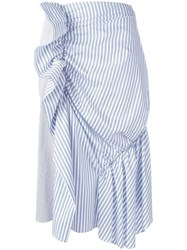 J.W.Anderson Gathered Striped Skirt White