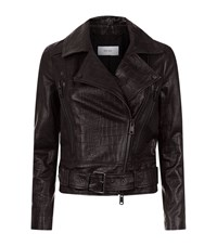 Reiss Serge Slim Fit Leather Jacket Female Black