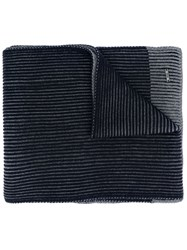 Hugo Boss Ribbed Contrast Knitted Scarf Grey