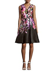 David Meister Floral Silk Blend Dress Floral Multi