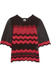 M Missoni Mesh Paneled Crochet Knit Top Red