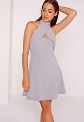 Missguided Wrap Halter Skater Dress Ice Grey Grey