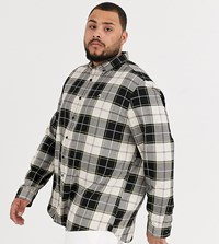 River Island Big And Tall Shirt In Tan And Black Check