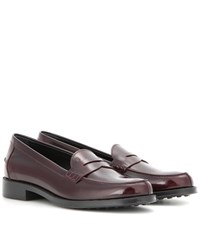 Tod's Leather Loafers Red