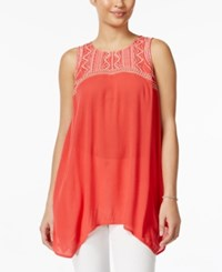 Styleandco. Style And Co. Embroidered Handkerchief Hem Sleeveless Top Only At Macy's Destiny Rose