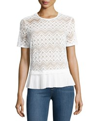 Laundry By Shelli Segal Pleated Trim Lace Top White