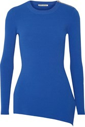 Autumn Cashmere Asymmetric Ribbed Jersey Top Blue