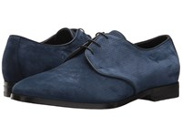 Canali Perforated Suede Oxford Blue Men's Slip On Shoes