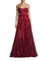 Maria Lucia Hohan Strapless Metallic Gown Lipstick Red