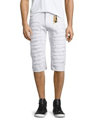 Robin's Jean Distressed Slim Fit Over Knee Shorts White Men's