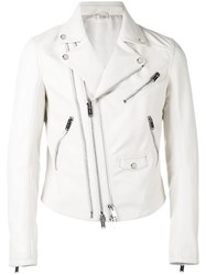 Les Hommes Perfecto Jacket Men Lamb Skin Acetate 50 White