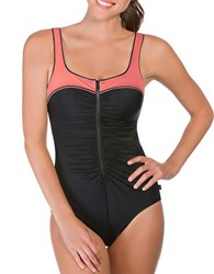 Reebok Two Tone Ruched One Piece Bodysuit Coral
