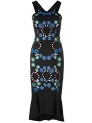 Peter Pilotto Geometric Embroidered Cady Dress Black