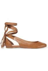 Sigerson Morrison Elami Lace Up Leather Flats Tan