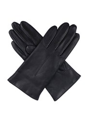 Dents Ladies Plain Leather Gloves Lined Fleece Navy