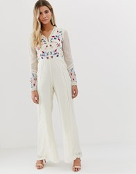 Frock And Frill Button Front Wide Leg Jumpsuit In Bird Sequin Embroidery In Cream
