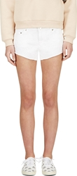 Filles A Papa White Embroidered Denim Chastity Mini Shorts