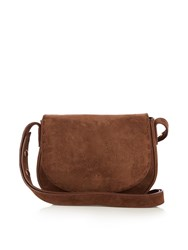 Elizabeth And James Zoe Mini Suede Saddle Cross Body Bag Brown