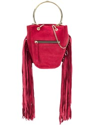 Just Cavalli Fringed Bucket Bag Red