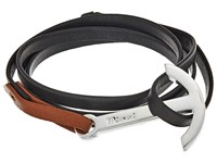 Miansai Modern Silver Anchor On Two Tone Leather Bracelet Black Brown