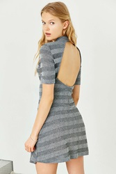 Cooperative Ribbed Mock Neck Dress Grey