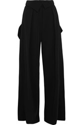 Preen By Thornton Bregazzi Carson Stretch Crepe Wide Leg Pants Black