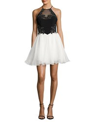 Blondie Nites Two Tone Rhinestone Tulle Halter Dress Black Ivory